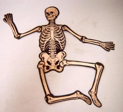 Vintage Halloween Decoration Beistle Jointed Skeleton Circa 1940s
