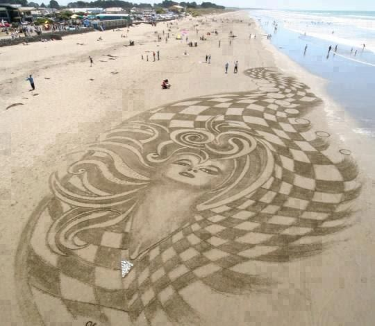 Beach Sand Art In Brighton Christchurch New Zealand