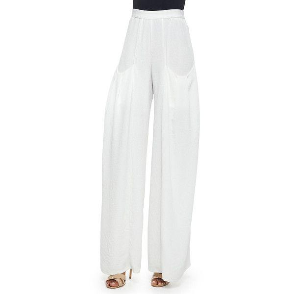 Alice + Olivia Pleated-Pocket Wide-Leg Pants ($410) ❤ liked on Polyvore