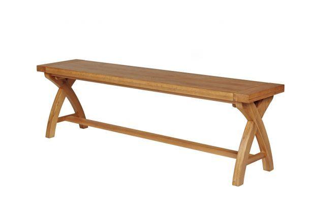Country Oak 160cm Solid Oak Cross Leg Bench Winter Dining