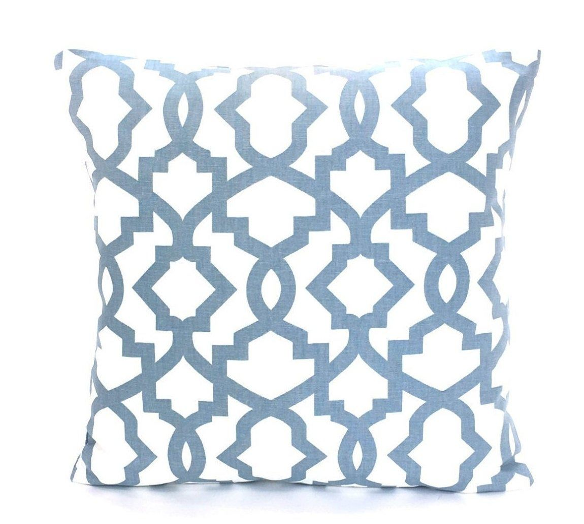 Slate Blue White Pillow Cover Decorative Accent Toss Couch Etsy White Pillow Covers Blue Throw Pillows Blue Pillows