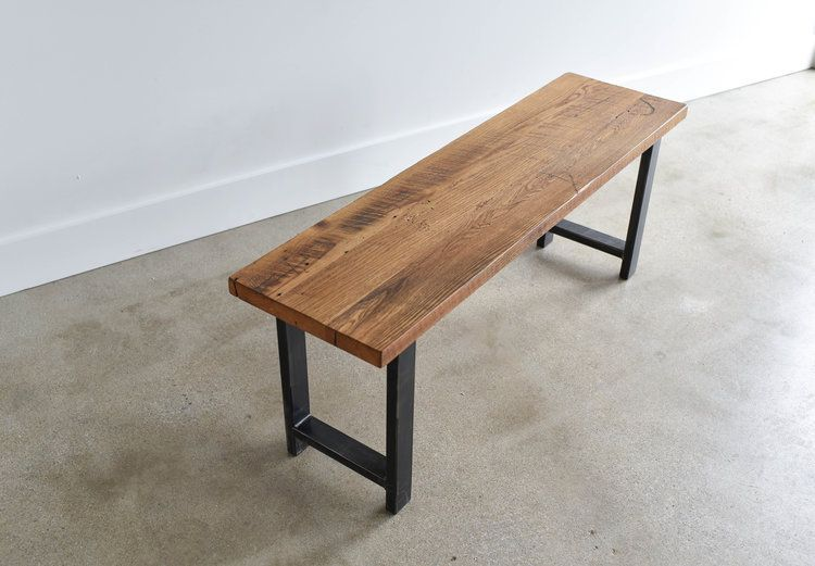 Feature Our Industrial Steel Bench In Your Entryway With Baskets Underneath Or Alongside One Of Our Ha Wood Bench Reclaimed Wood Benches Metal And Wood Bench