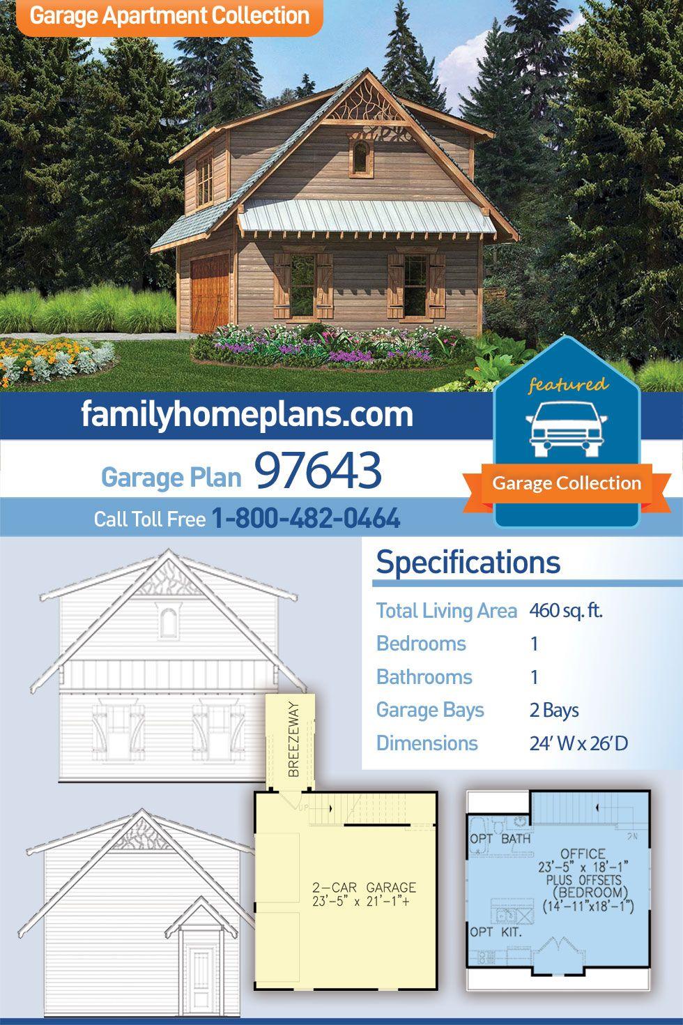 Craftsman Style 2 Car Garage Apartment Plan Number 97643 With 1 Bed 1 Bath In 2020 Garage Plan Garage Apartments Garage Apartment Plan