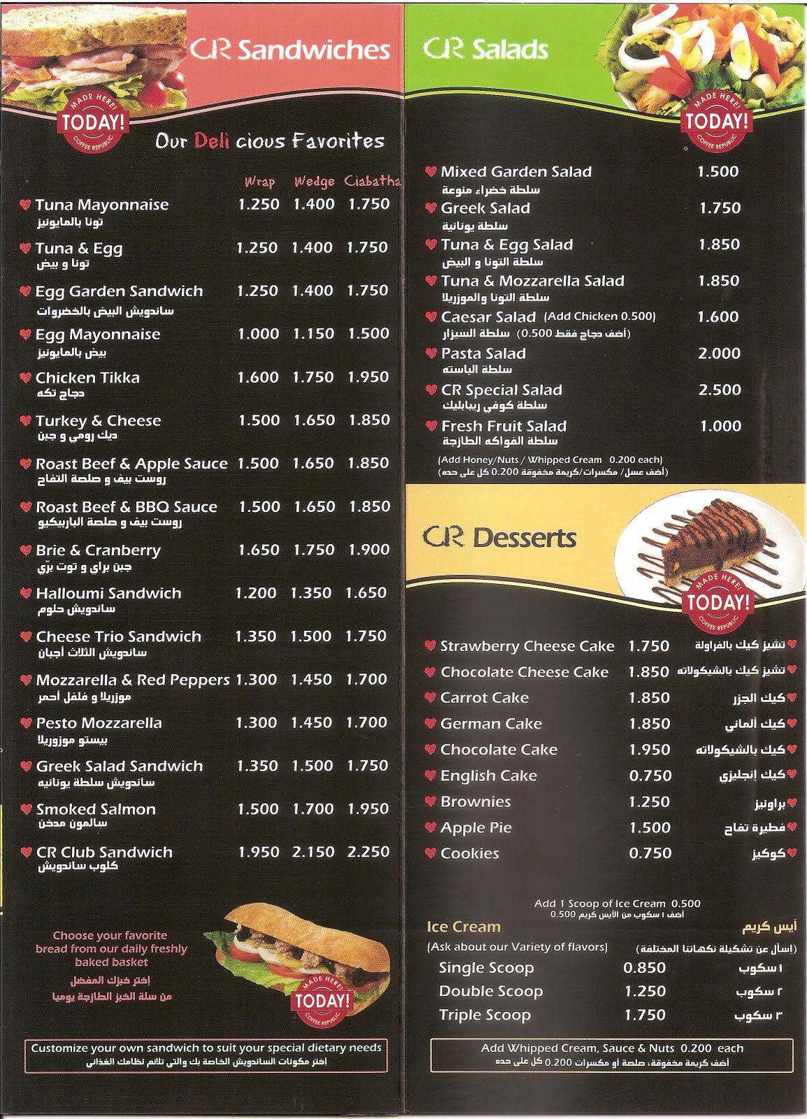 White apron sandwiches dc menu - Sandwich Shop Menu Kuwait The Food Blog