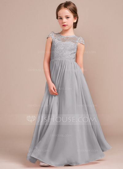 A Line Princess Scoop Neck Floor Length Zipper Up Covered On Cap Straps Sleeveless No Blushing Pink General Chiffon Lace Junior Bridesmaid Dress