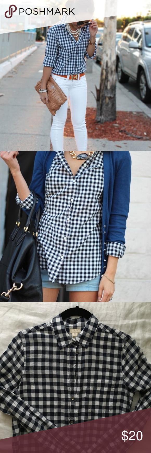 Navy blue flannel shirt womens  J Crew Navy Blue Checkered Shirt  Blue checkered shirt Navy blue