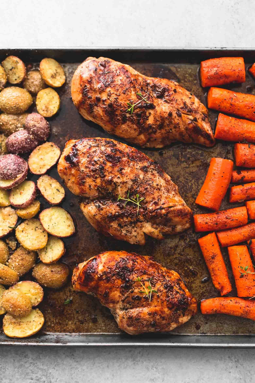 Sheet Pan Balsamic Chicken with Potatoes and Carrots   Creme De La Crumb