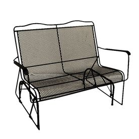 Davenport Black Wrought Iron Mesh Patio Loveseat Glider 8340000