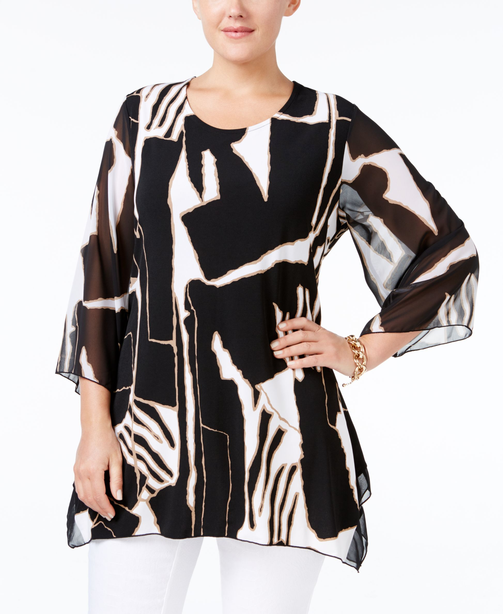 JM Collection Plus Size Studded Handkerchief-Hem Top, Only at Macys - Tops - Plus Sizes - Macy