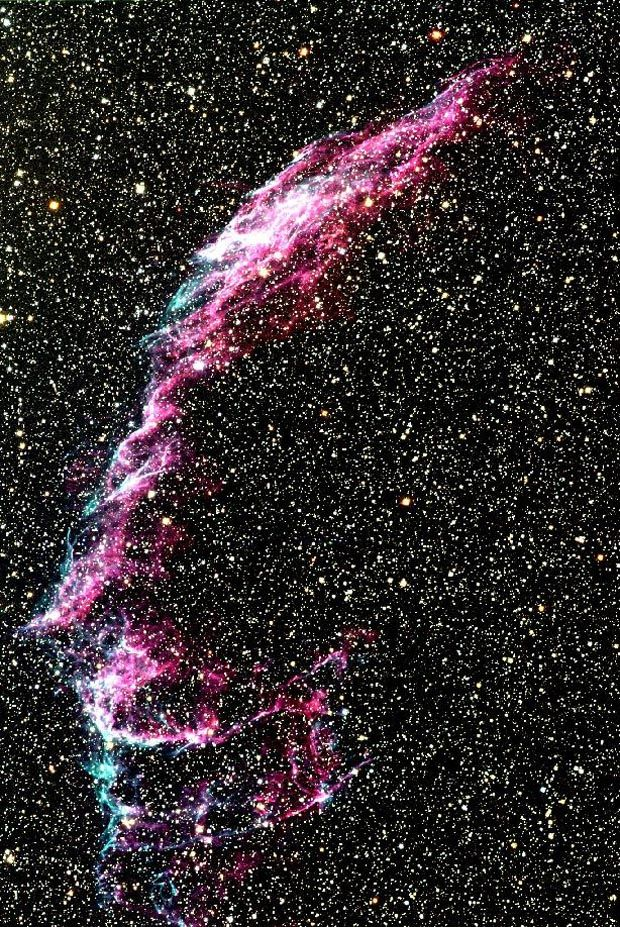 The Veil nebula or Cygnus Loop, some 2500 light years away is an enormous region of diffuse gas emission, covering several degrees on the sky. - Credit: N. A. Sharp, REU program/AURA/NOAO/NSF