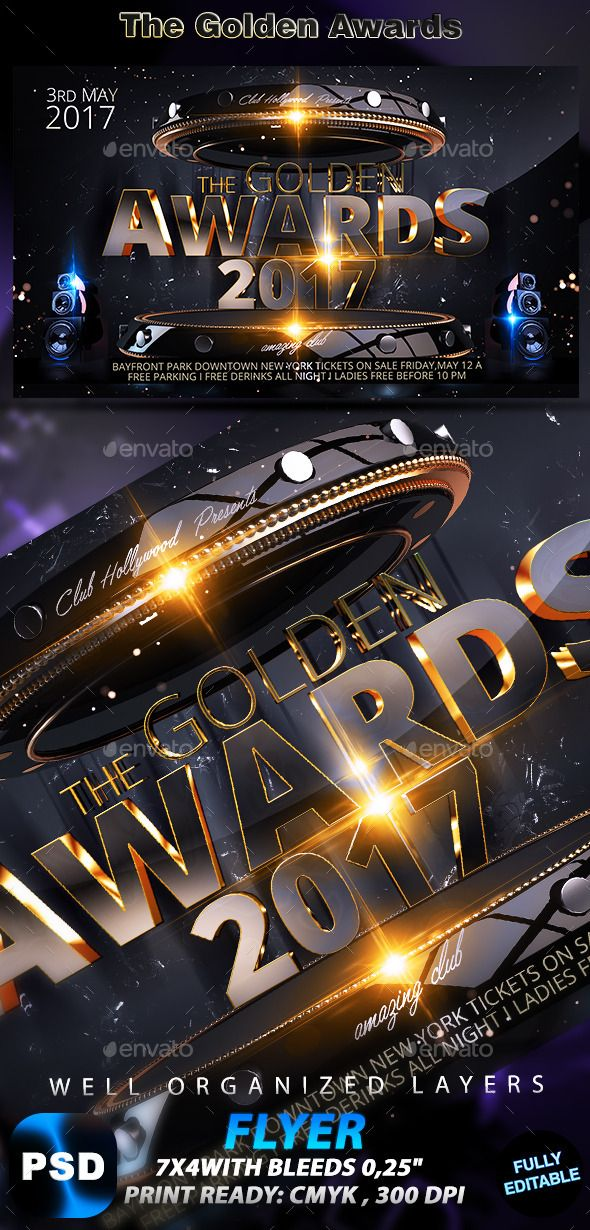 The Golden Awards Flyer Pinterest Psd Templates Template And