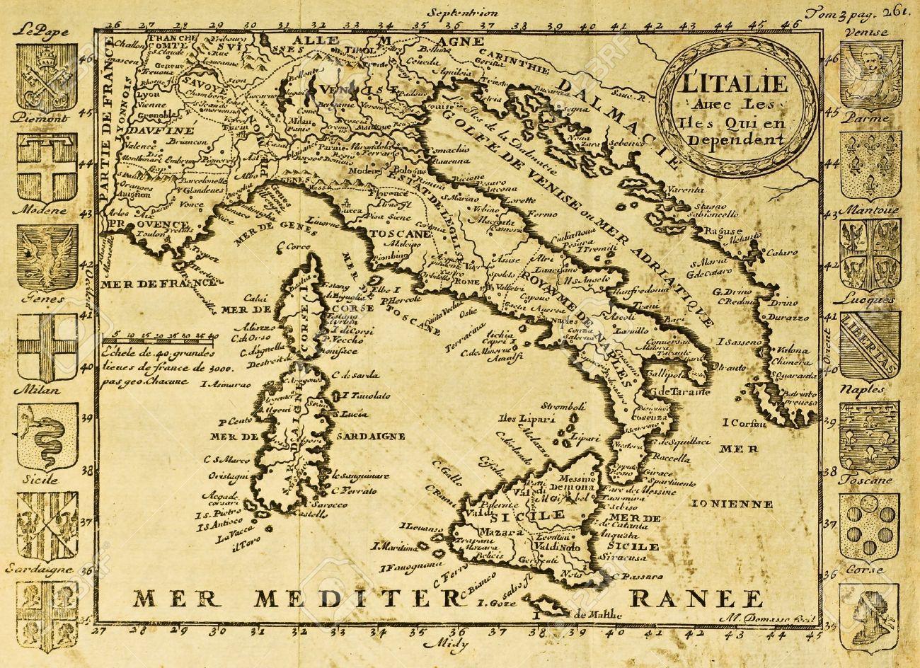 Italie Xviiie Siecle Meditation Cartes Anciennes Xviiie Siecle