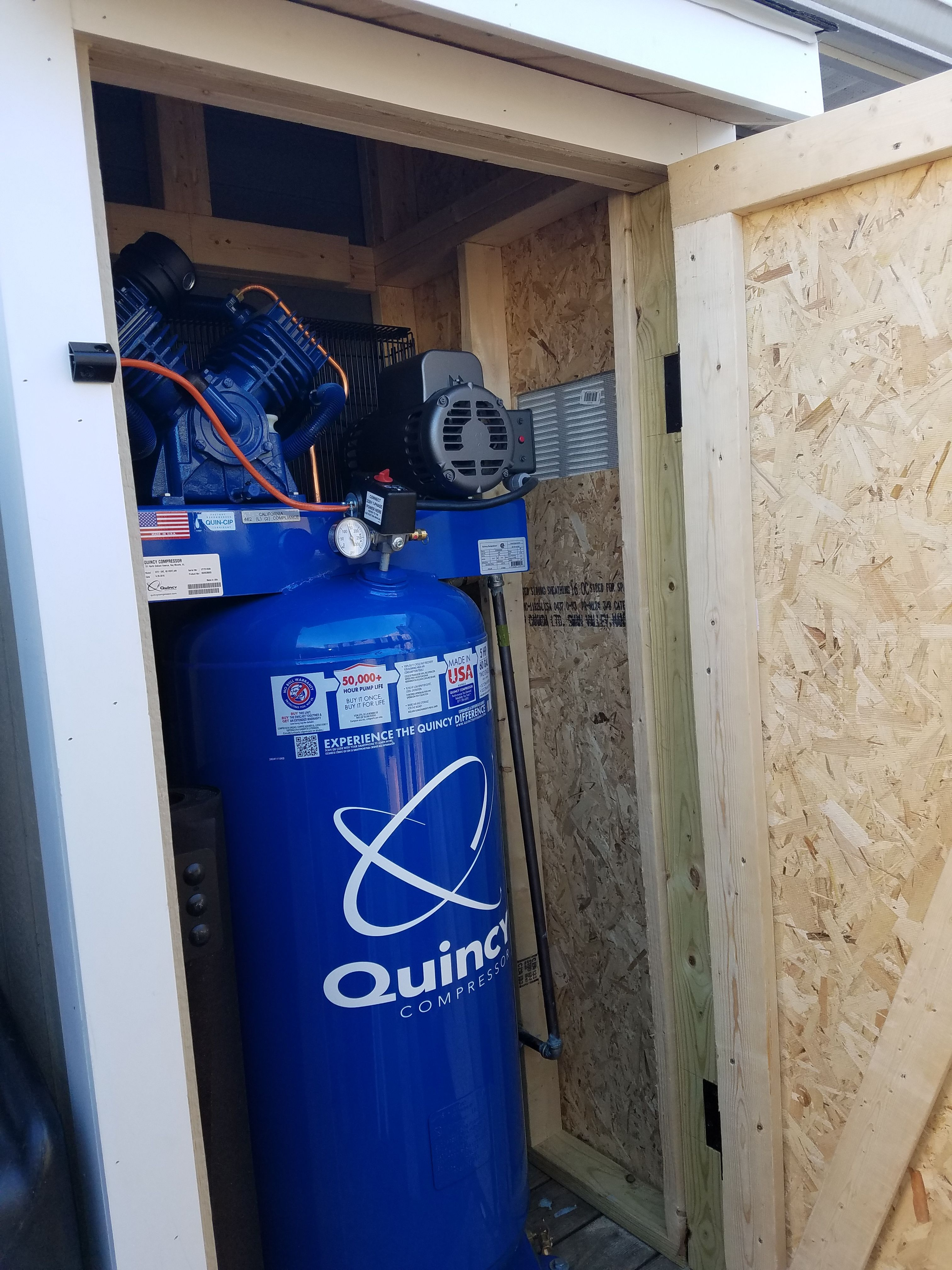 Air Compressor Storage Shed Quincy 60 gal, 230V, 5HP