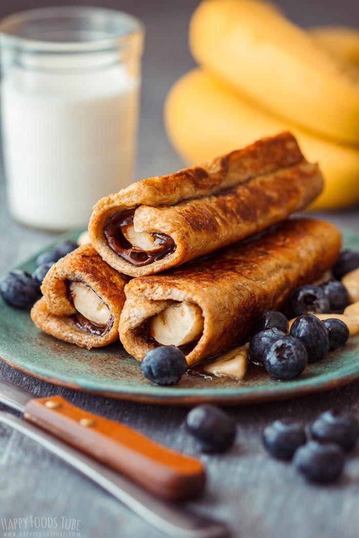 Nutella Banana French Toast Roll Ups - Happy Foods Tube #frenchtoastrollups