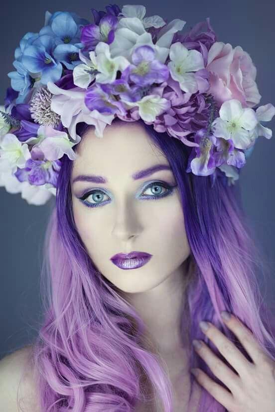 Maquillage Féerique, Cheveux Violets, Accessoires Cheveux, Voile Sur Le  Visage, Magnifique Couleur