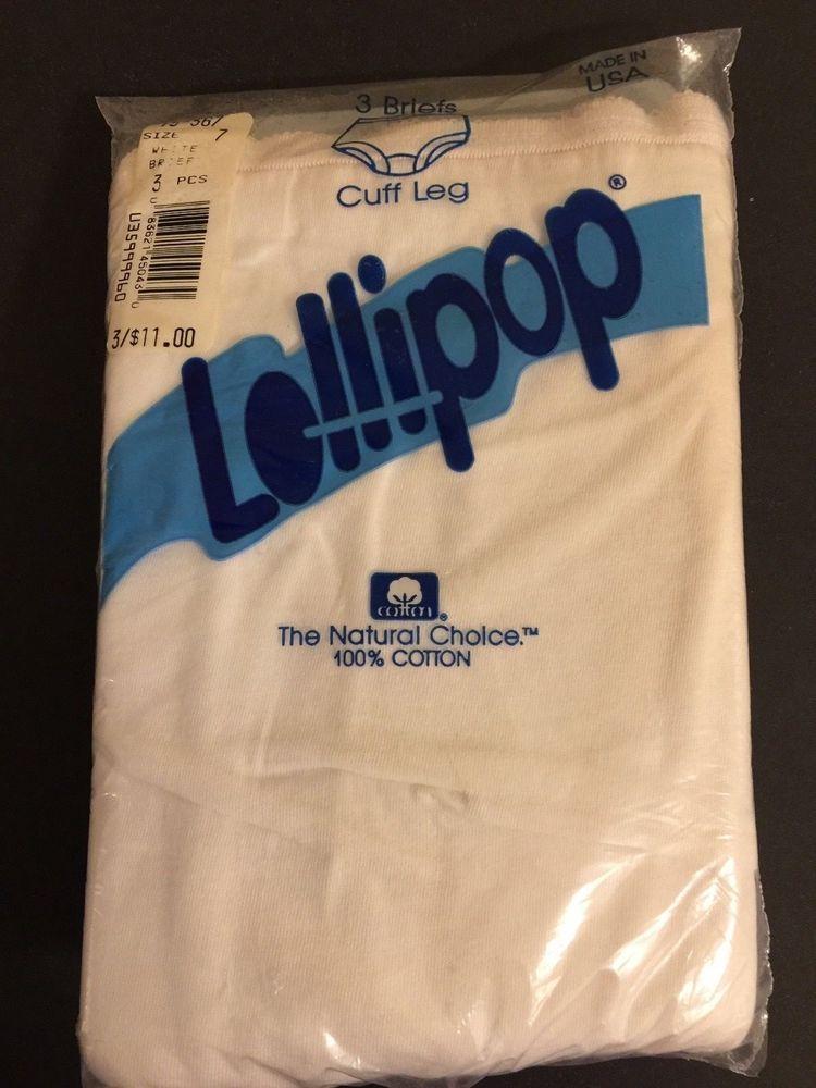 f09978ff142a Vintage Granny Panties Briefs Lollipop 100% Cotton Size 7 White NIP 3 Pairs  #Lollipops #Everyday