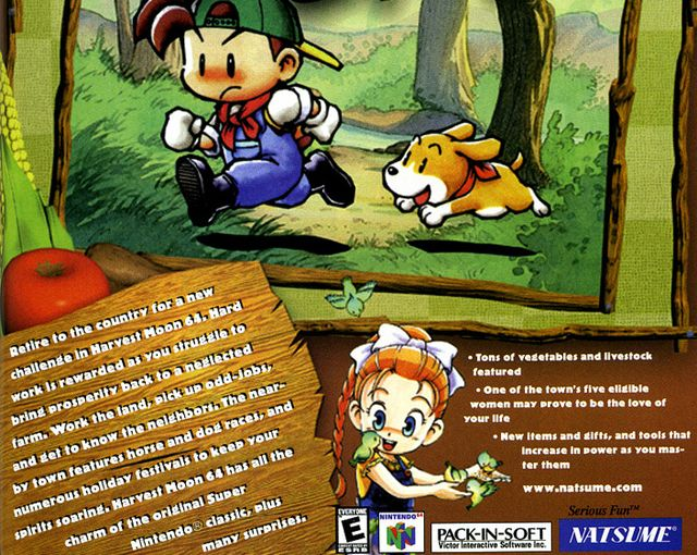Harvest Moon 64 Advertisement Yeah It S Not Classic Or Even A Good Ad But I Love The Game Geek Books Harvest Moon 64 Harvest Moon Game