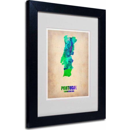 Trademark Fine Art Portugal Watercolor Map Matted Framed Art By - Portugal map size