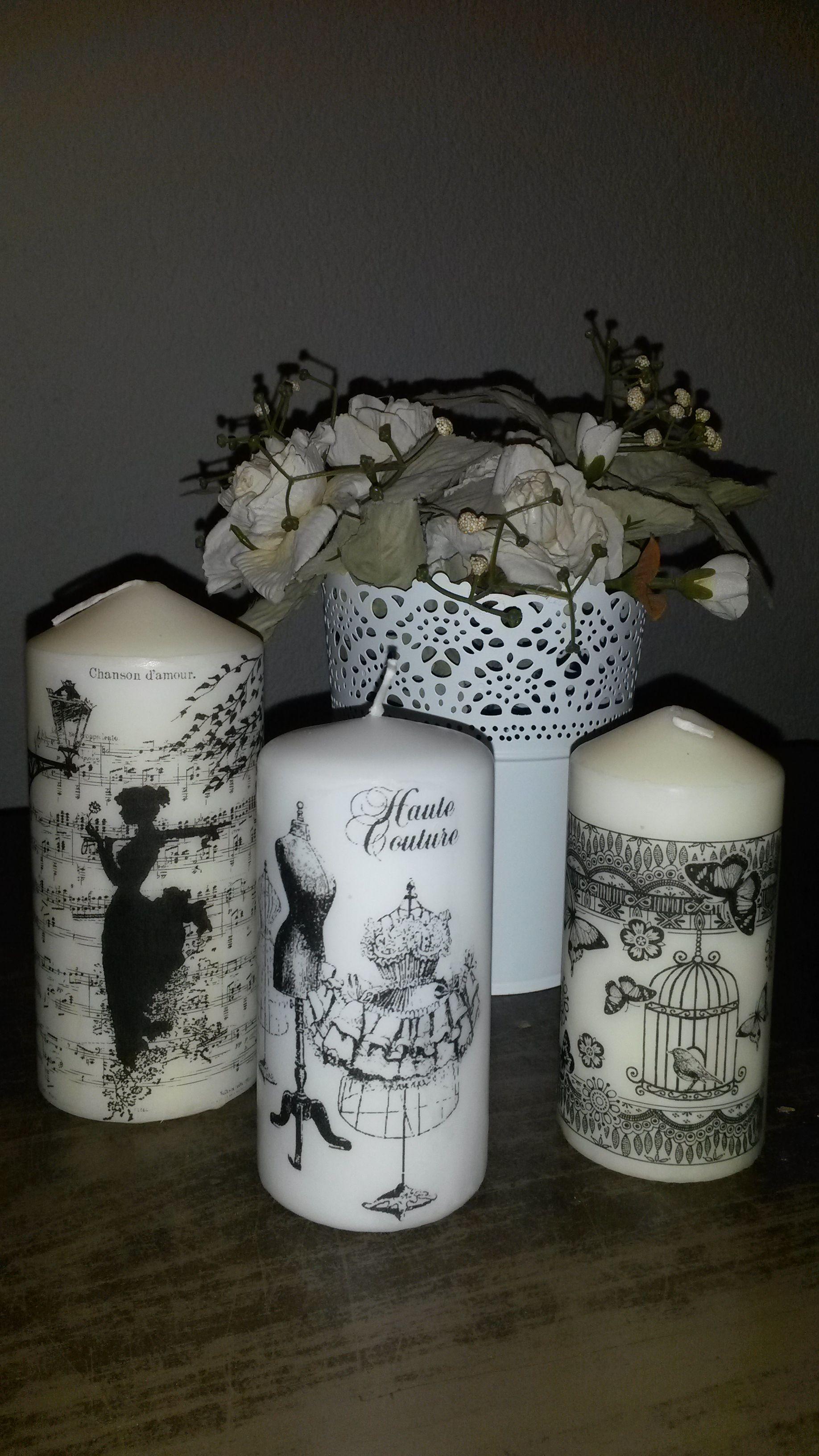candles  decoupage love