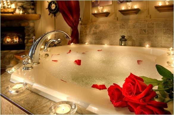 valentines bathtub by candlelight