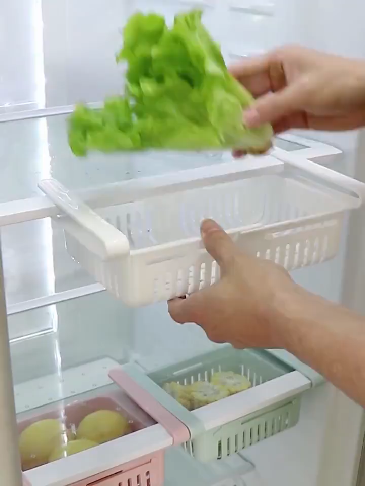 Freezer Shelf Holder Pull-out Drawer Organiser Space Saver