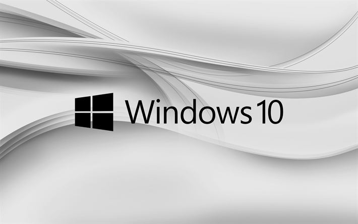 Download wallpapers Windows 10, gray background, abstract waves