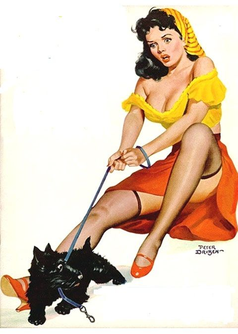 18x24 Vintage Reproduction Pinup Beautiful Brunette With Scottish Terrier Leash