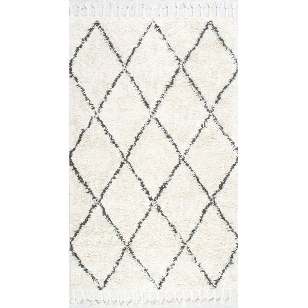 Twinar Geometric Hand Knotted Wool Off White Dark Gray