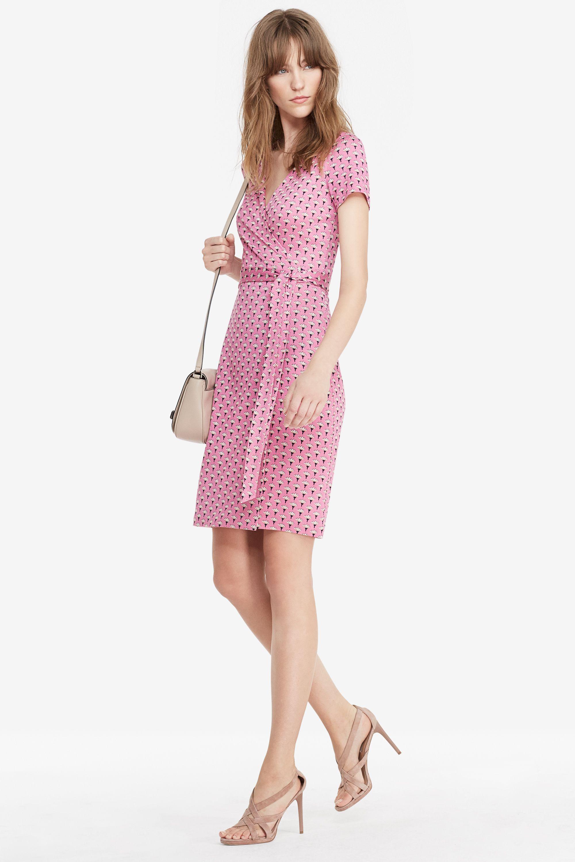 978ed03a7d2 DVF New Julian Two Short Sleeve Silk Jersey Wrap Dress in Peace Palm Pink