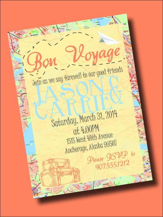 Bon Voyage - Going Away Party Invitation Bon voyage, Party - invitation templates for farewell party