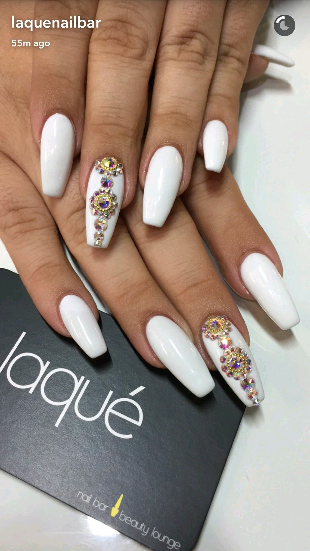 Laquenail Bar White Coffin Nails With Rhinestones Rhinestone Nails Nail Art Rhinestones Swarovski Nails
