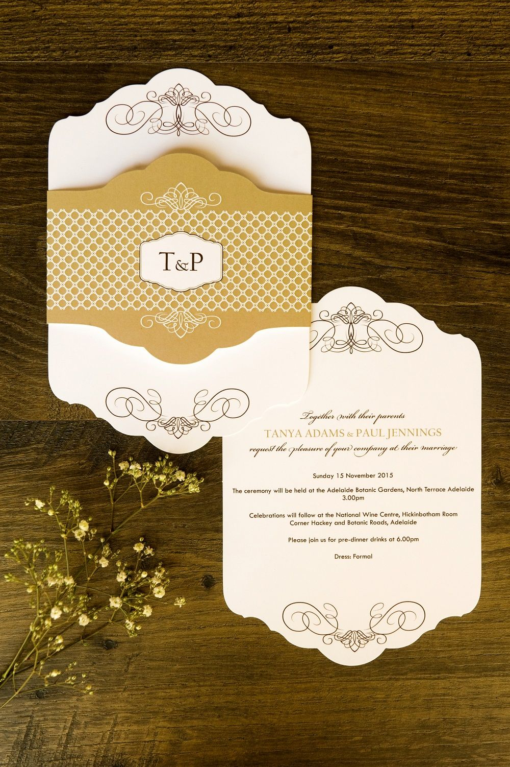 Amazing And Unique Invitation Ornate Shape With Ornate Belly Band