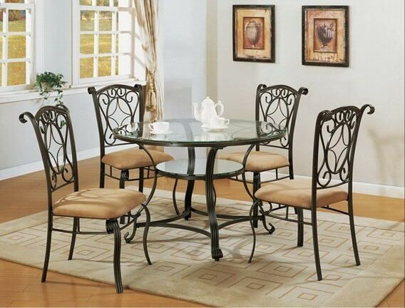 Crown Mark 1843T-5PC 5 pc jessica metal and glass dining table set