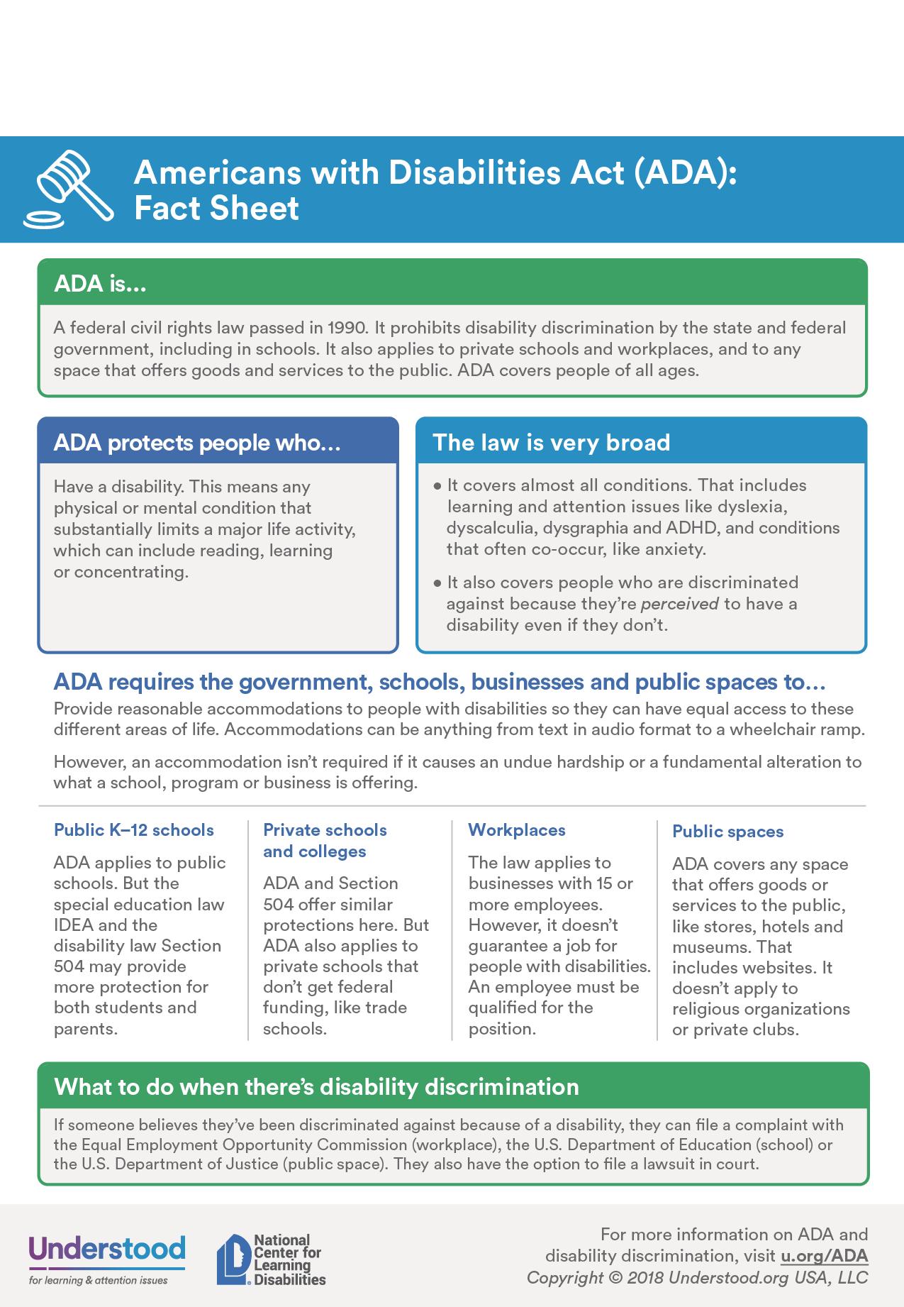 Ada Fact Sheet Fact Sheet Facts Children S Rights