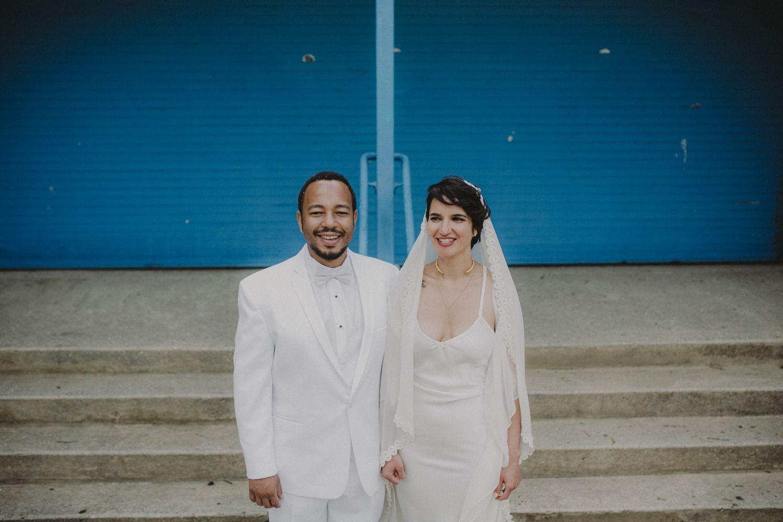 Bride groom bridal portrait. Lauren + AJ Backyard Indie Bohemian Long Island DIY Wedding. Dress and veil: Lindsey Thornburg. Shoes: Raphaella Booz. Photographer: Chellise Michael Photography in Brooklyn, NYC