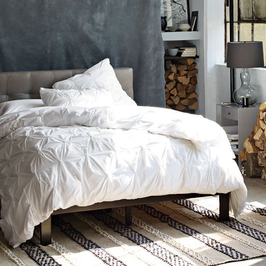Low Grid-Tufted Leather Bed - Elephant Gray | West Elm | Apartment ...