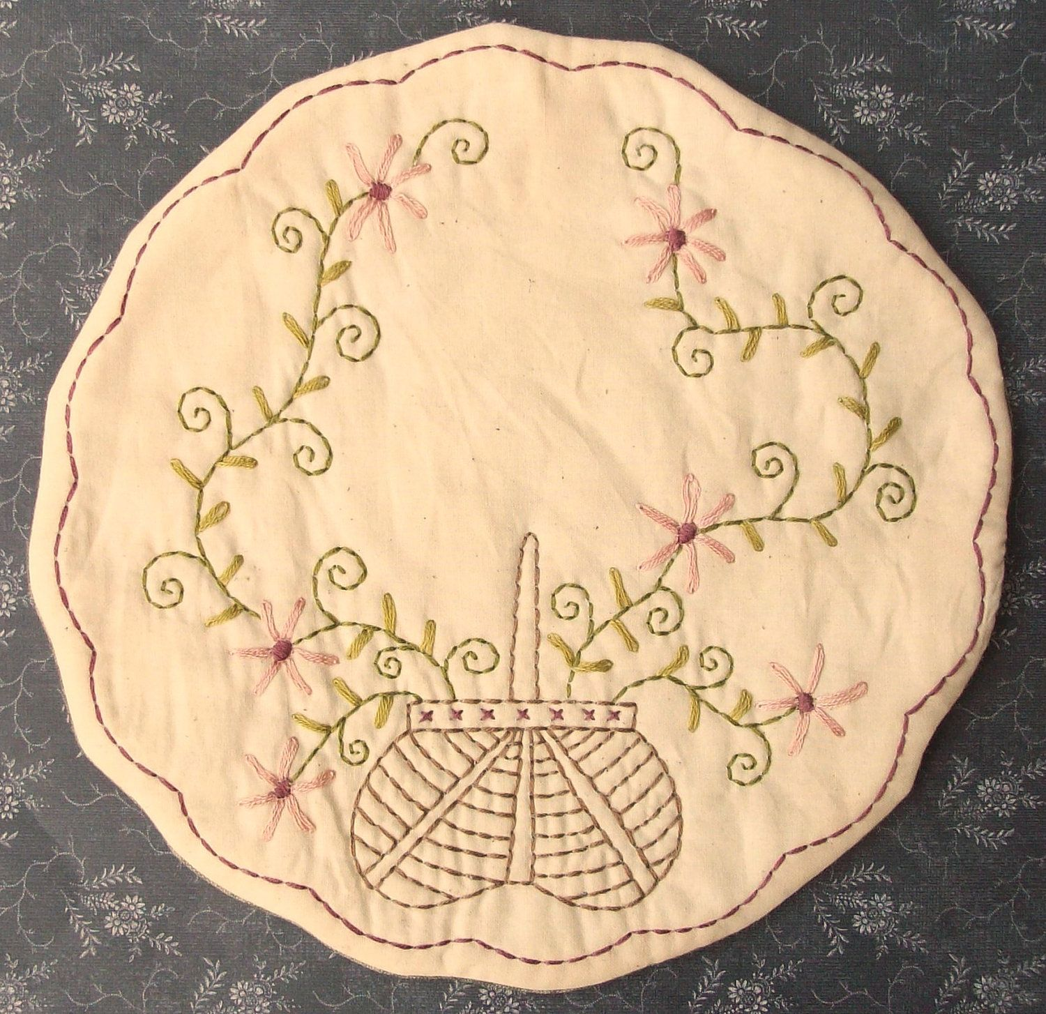 Stitchery Patterns | Primitive Stitchery Candle Mat PATTERN Basket Of by thetalkingcrow