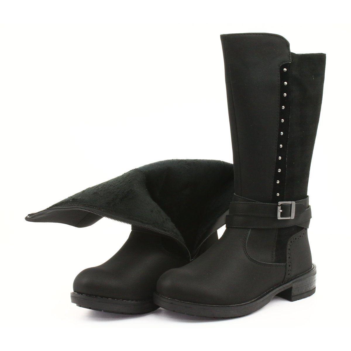 Dlugie Kozaczki Z Dzetami American Club Gc31 Czarne Szare Boots Childrens Boots Long Boots