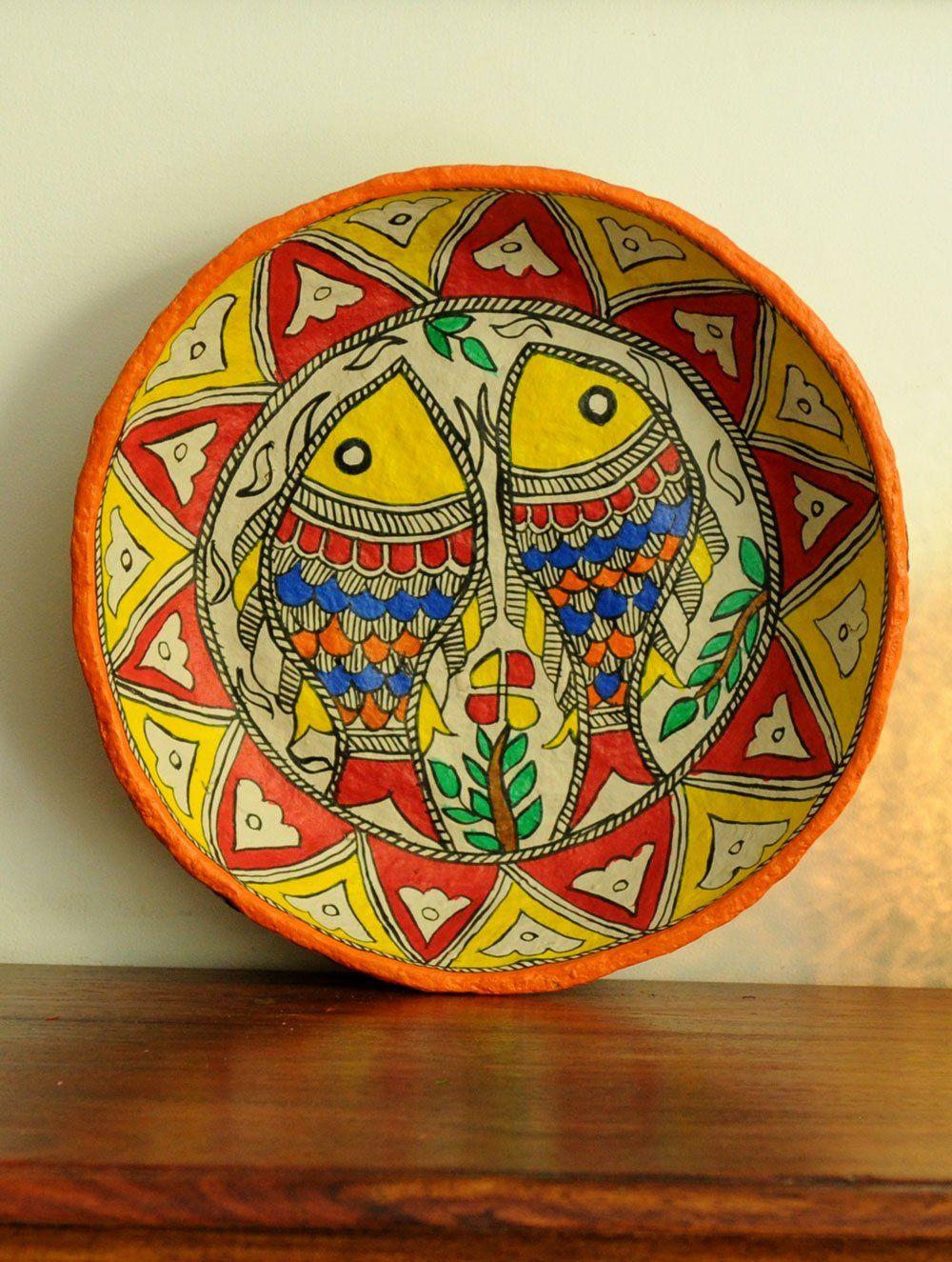 Madhubani Art Papier Mache Utility Basket, Multicoloured