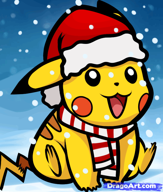 how to draw christmas pikachu - Christmas Pikachu