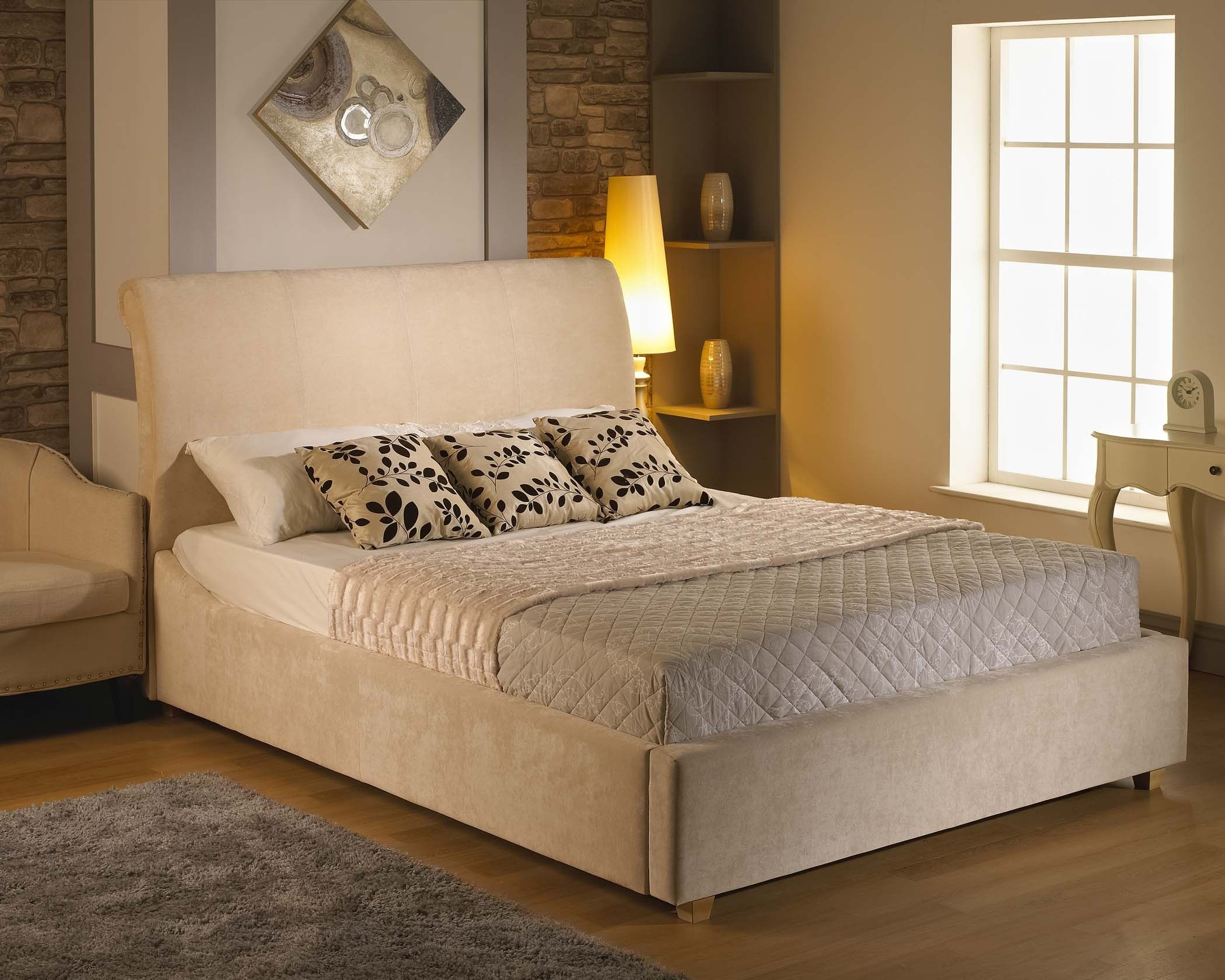 5Ft Peru Fabric King Size Bed Frame Beige