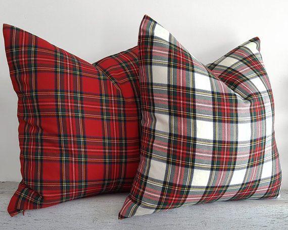 White Red Plaid Pillows Christmas Pillow Cover Tartan
