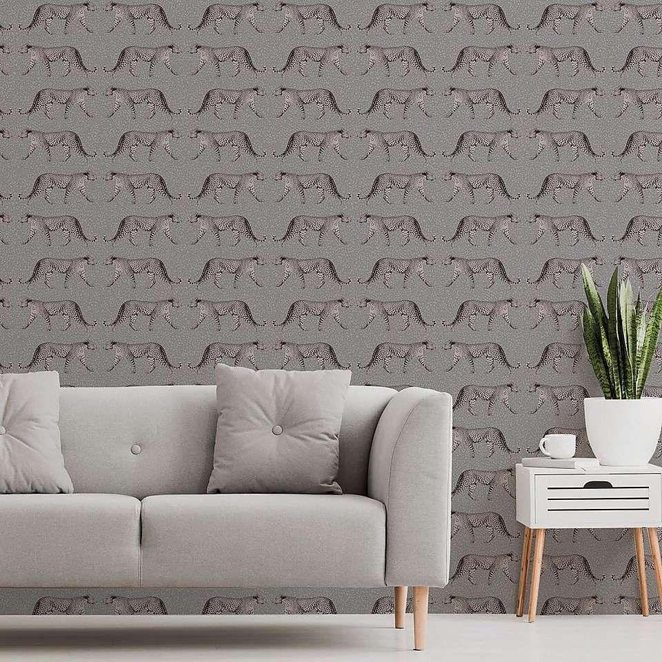 Glamorous Leopard Charcoal Wallpaper Dunelm Charcoal Wallp