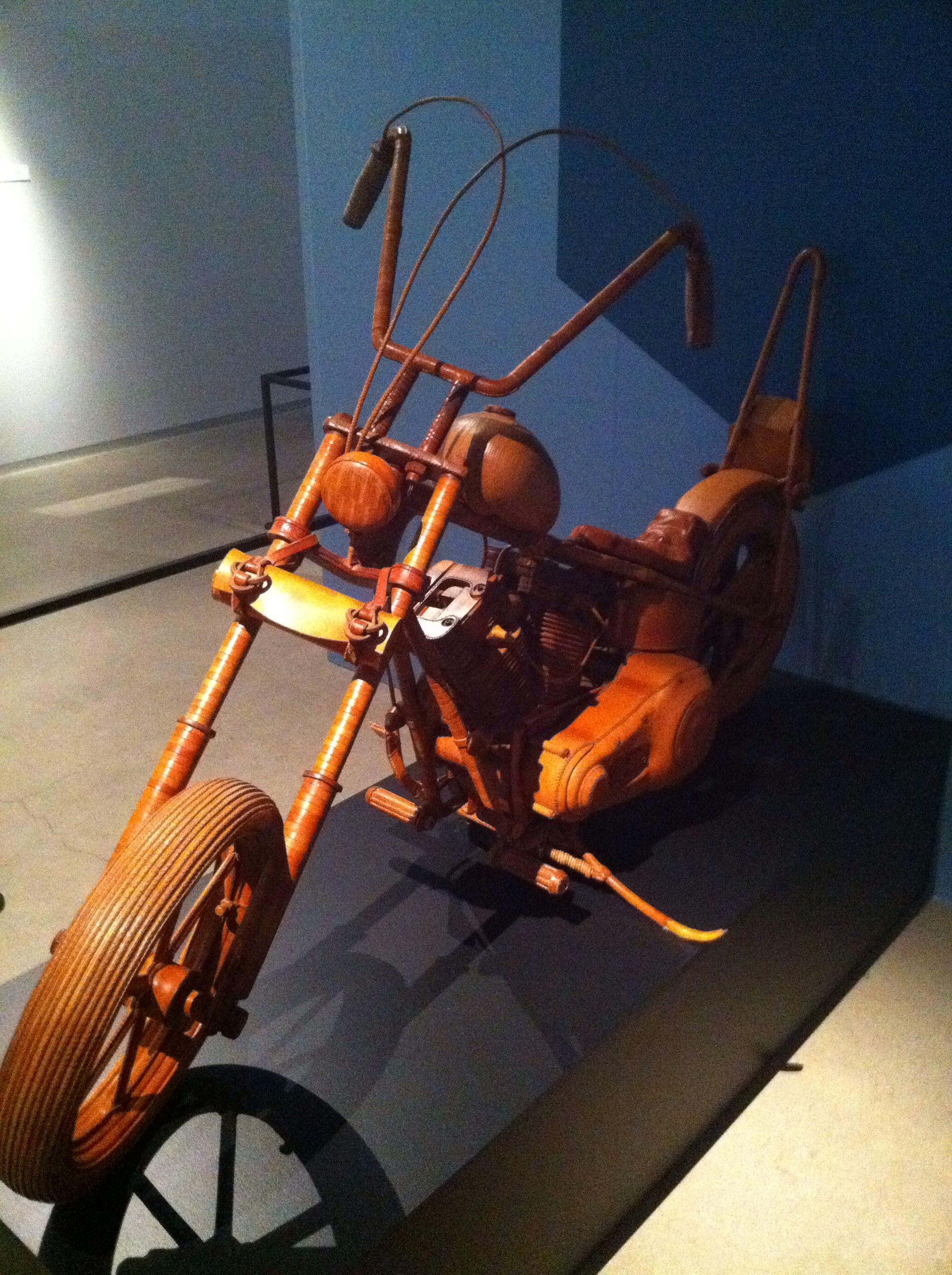 Leather motorcycle at the Harley Museum in Milwaukee