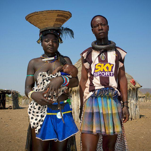Mucawana Tribe Couple And Baby - Angola