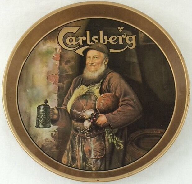 "Old Carlsberg Man with Stein 12"" Metal Beer Tray Bar Sign Tavern"