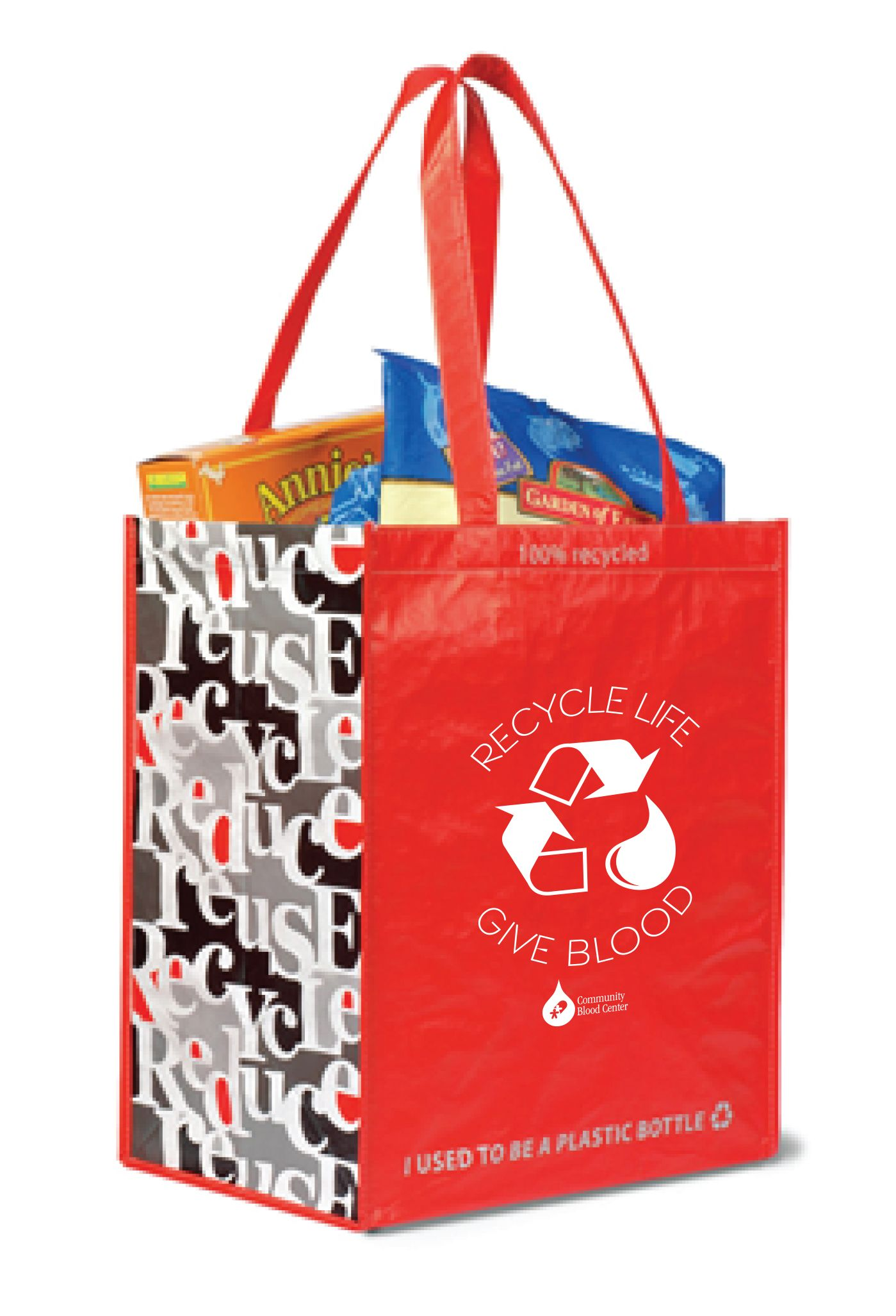 """Everyone who registers to donate April 6 - May 2 will receive a free """"Recycle Life - Give Blood"""" grocery tote which is a nod to """"Earth Day 2015"""" celebrated April 22. The bright red """"Recycle - Give Blood"""" grocery tote bag is made completely from recycled materials."""