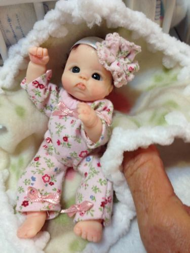 "SWEETEST LIL BONNET FITS 2-3/"" TINY REBORN OOAK BABY!"