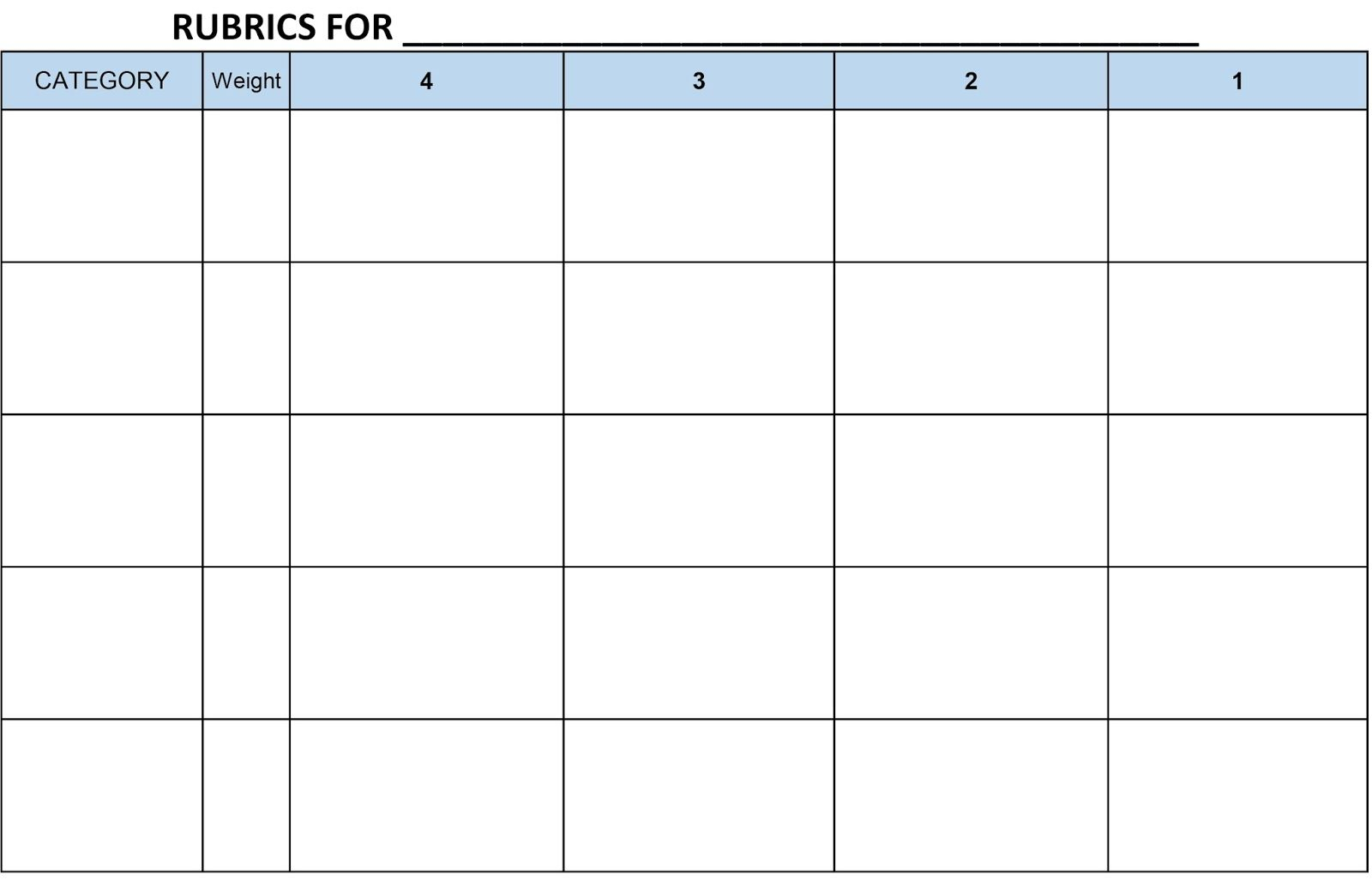 Image Result For Blank Rubric Template Editable Rubric Template