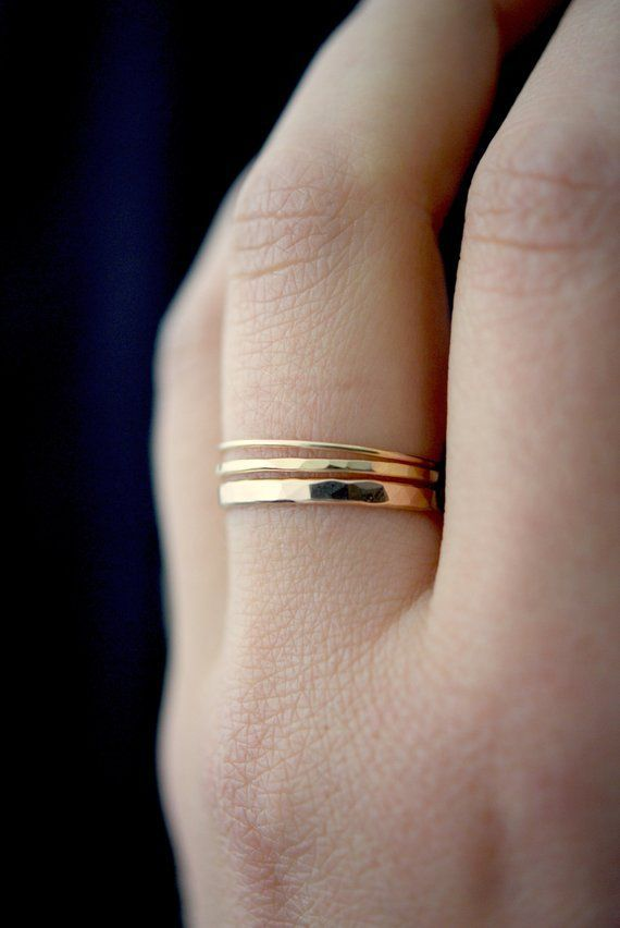 Photo of Basic Set of 3 in Gold-fill, set of 3, Medium Thickness, gold fill stacking rings, delicate gold sta